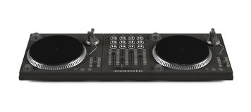 Wide DJ mixer with two vinyls  Stock Image
