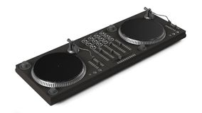 Wide DJ mixer with two vinyls  Royalty Free Stock Image