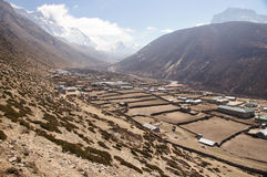 Wide dry farming village valley. Found along trek to Everest Base Camp, Nepal Royalty Free Stock Photography