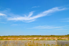 Wide empty land with clear blue sky. Royalty Free Stock Image