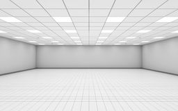 Wide empty office room interior with white walls 3 d. Abstract wide empty office room interior with white walls, ceiling illumination and floor tiling, 3d royalty free illustration