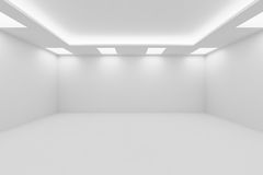 Wide empty white room with square ceiling lights. Abstract architecture white room interior - wide empty white room with white wall, white floor, white ceiling Royalty Free Stock Image