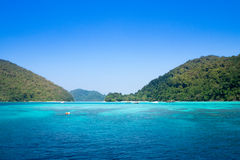 Wide entrance Surin Islands . Islands are the most beautiful in the world's water resources . Royalty Free Stock Photos