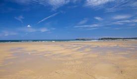 Wide expanse of sand at El Puntal. Sandbank, Bay of Santander stock photo