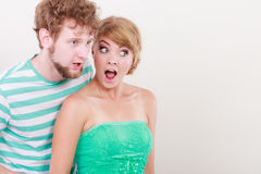 Wide eyed couple surprised expression open mouth Stock Image
