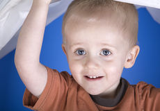 A wide eyed toddler plays peepbo Royalty Free Stock Photography