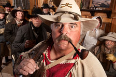 Wide Eyed Trapper in Saloon Royalty Free Stock Photos