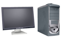 Wide flat monitor and computer Stock Photos