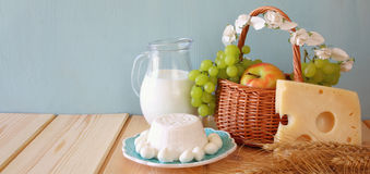 Wide format image of dairy products and fruits Royalty Free Stock Images