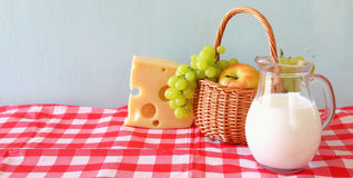 Wide format image of dairy products and fruits Stock Photos