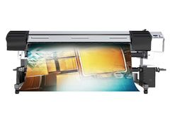 Wide Format Printing Concept. Solvent Grand Format Printer 3D Illustration Isolated on White royalty free illustration