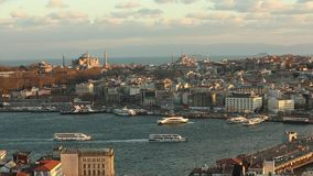 Wide frame on Istanbul from the Galatian tower. General plan on the historic district of Istanbul Blue Mosque, Hagia. Sophia stock video footage