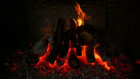 Wide Front Shot of an Ancient Fireplace stock video footage