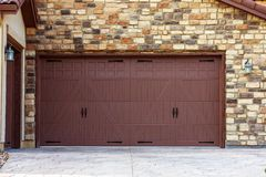 Wide Garage Doors Stock Photo