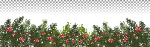 Wide garland of Christmas trees, . Branches of Christmas. Christmas long garland.Beautiful evergreen garland of Xmas tree branches,red berries and snowflakes Stock Images