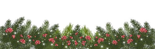 Wide garland of Christmas trees, isolated. Branches of Christmas. Christmas long garland.Beautiful evergreen garland of Xmas tree branches,red berries and Royalty Free Stock Images