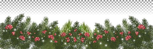 Wide garland of Christmas trees, isolated. Branches of Christmas. Christmas long garland.Beautiful evergreen garland of Xmas tree branches,red berries and Stock Image