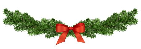 Wide garland of pine branches with a red bow. Isolated without s stock illustration