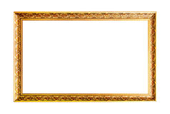 Wide gold horizontal wooden frame. Isolated on white background Stock Photo