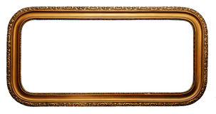 Wide gold plated wooden picture frame royalty free stock photo