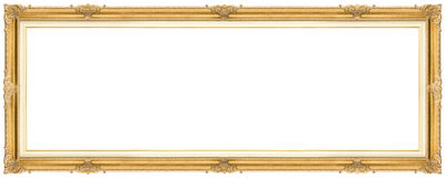Wide Golden Frame. Golden Frame isolated on white background. Clipping path included Royalty Free Stock Photo