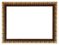 Wide golden gilted vintage wooden picture frame Royalty Free Stock Images