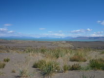 Wide grassy pampa in argentinian patagonia Stock Photo