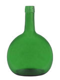 Wide green glass bottle isolated. Royalty Free Stock Image