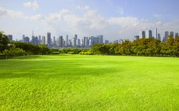Wide green grass ground of public park against high building in Stock Photo