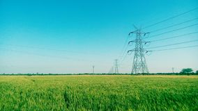 Wide Green. Tower field sky nature Stock Photo