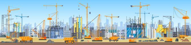 Wide Head Banner Of City Skyline Construction Process. Tower Cranes On Construction Site. Buildings Under Construction. Royalty Free Stock Photography