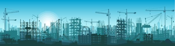 Wide High detailed banner illustration silhouette of buildings under construction in process. Stock Images