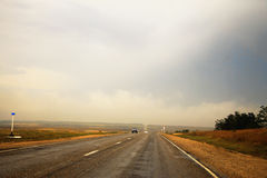 Wide highway and landscape. North Caucasus travel. Stock Photography
