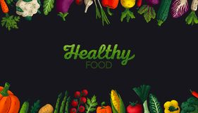 Wide horizontal Healthy food background. Copy space. Variety of decorative vegetables with grain texture on dark. Background. Farmers market, Organic food vector illustration