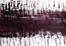 A wide horizontal line and many vertical lines of uneven lines drawn with a brush. stock photography