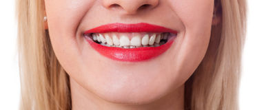 Wide image of a beautiful smiling mouth Stock Photo