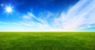 Wide image of green grass field. And bright blue sky stock image