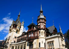 Wide image of the Peles Castle Romania Stock Images