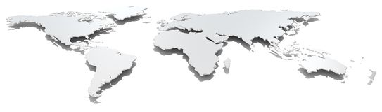 Wide image world map. Stock Image
