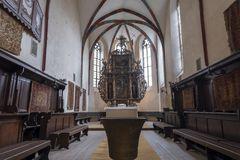 Wide interior view of the Church of the Dominican Monastery in Sighisoara royalty free stock photography