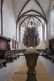 Wide interior view of the Church of the Dominican Monastery in Sighisoara. Vertical framing stock photography