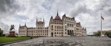 Wide Lajos. Wide panorama view of the Hungarian Parliament at Kossuth Lajos square, Budapest, Hungary Stock Photos