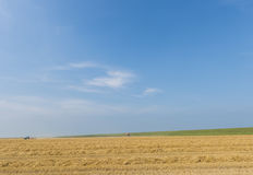 Wide Landscape with House Grainfield Tractor Royalty Free Stock Photos
