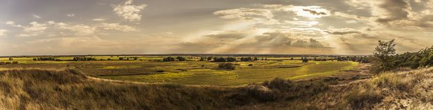 Wide landscape in sunset Stock Photos