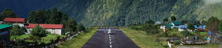 Wide Landscape View of Aircraft Landing on Tenzing–Hillary Air royalty free stock photos