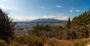 Wide landscape view of Fuji san by Panorama shot royalty free stock images