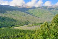 Wide landscape wilderness of the Glacier National Park Stock Photos