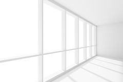 Wide large window in empty white room with sunlight. Business architecture white colorless office room interior - wide large window in empty white business Royalty Free Stock Photography