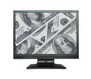 Wide LCD screen with dollar background. (photo inside is my property Royalty Free Stock Photo