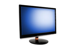 Wide LED computer monitor. Wide LED computer monitor with the blue screen. Isolated on white background Royalty Free Stock Photos